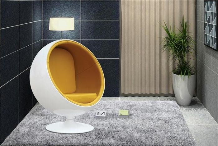 fauteuil-boule-assise-jaune-accent-de-décor