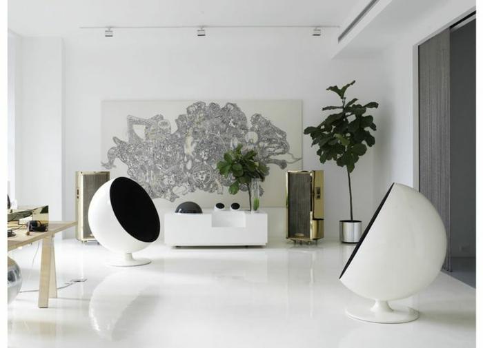 fauteuil-boule-intérieur-en-noir-et-blanc