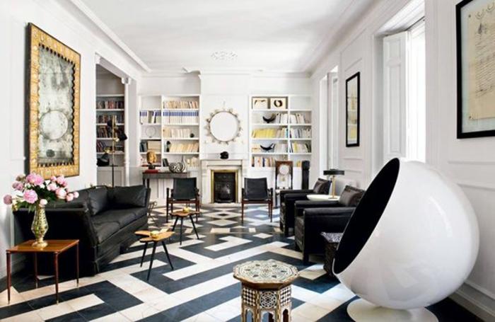fauteuil-boule-sol-à-motifs-géométriques-sofas-noirs
