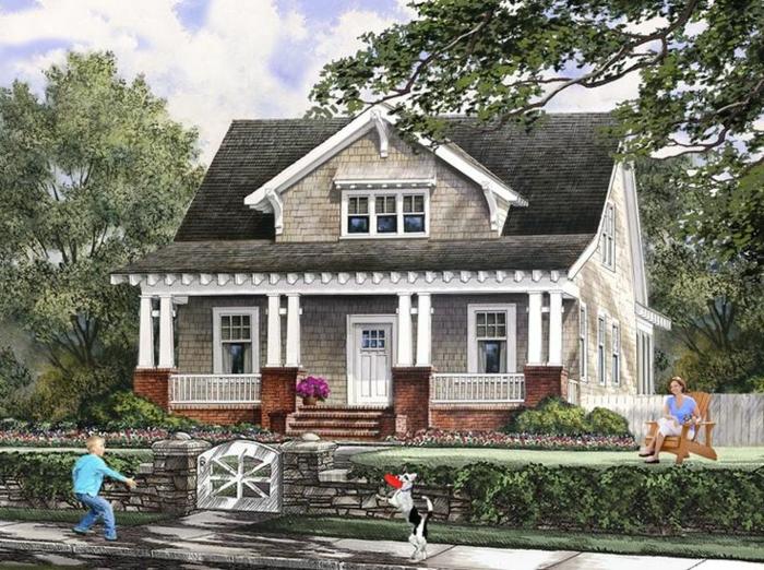 fenêtre-lucarne-toit-façade-verticale-veranda-chien