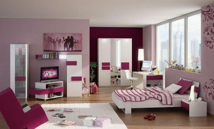 la chambre ado fille 75 id es de d coration. Black Bedroom Furniture Sets. Home Design Ideas