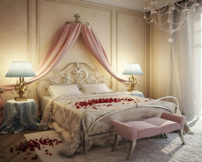 Cuisine Rouge Avec Mur Gris : La deco chambre romantique  65 idées originales