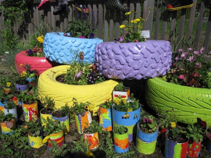 idées-pour-le-recyclage-pneux-pot-de-plantes