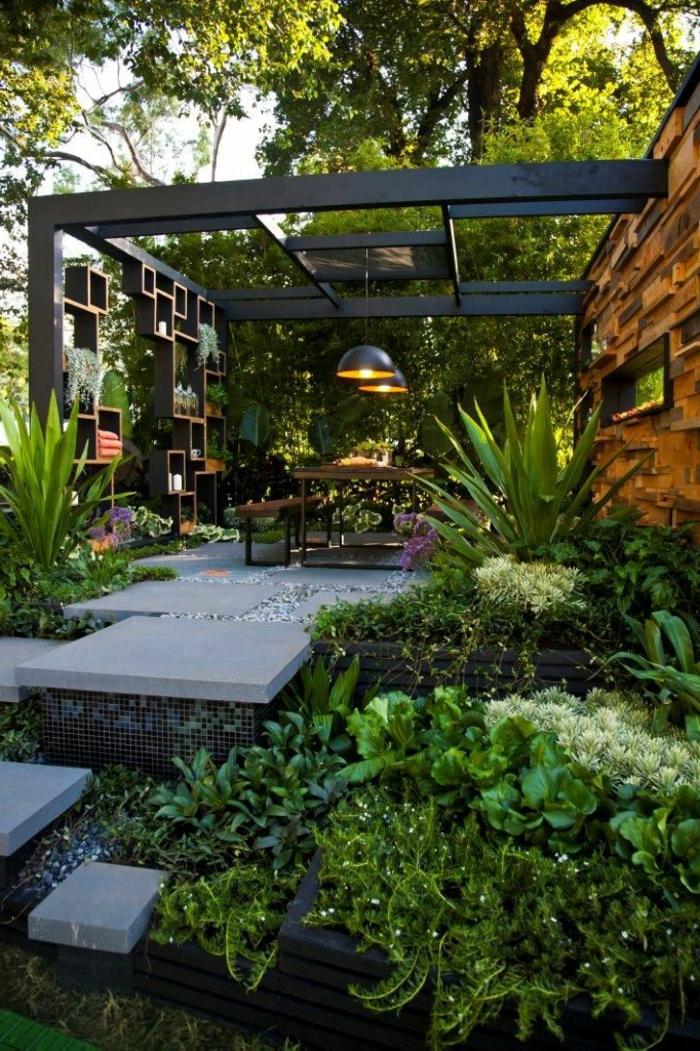 Modle de jardin paysager excellent accueil crer son for Amenagement jardin simple