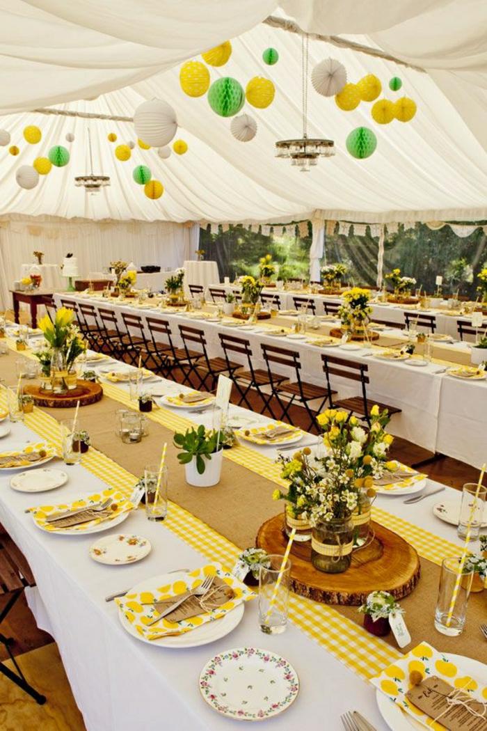 jaune-chemins-de-table-décoratin-mariage-chemins-de-table-lin-beige-fleurs