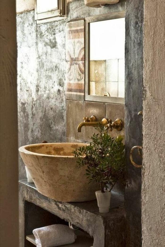 lavabo-retro-salle-de-bain-rustique-objet-salle-de-bain-rétro-salle-de-bain-plante-verte