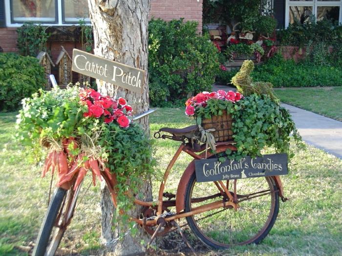 le-gros-pot-de-fleur-le-verte-bicyclette-réel-transformé-en-pot-plantes-fleurs