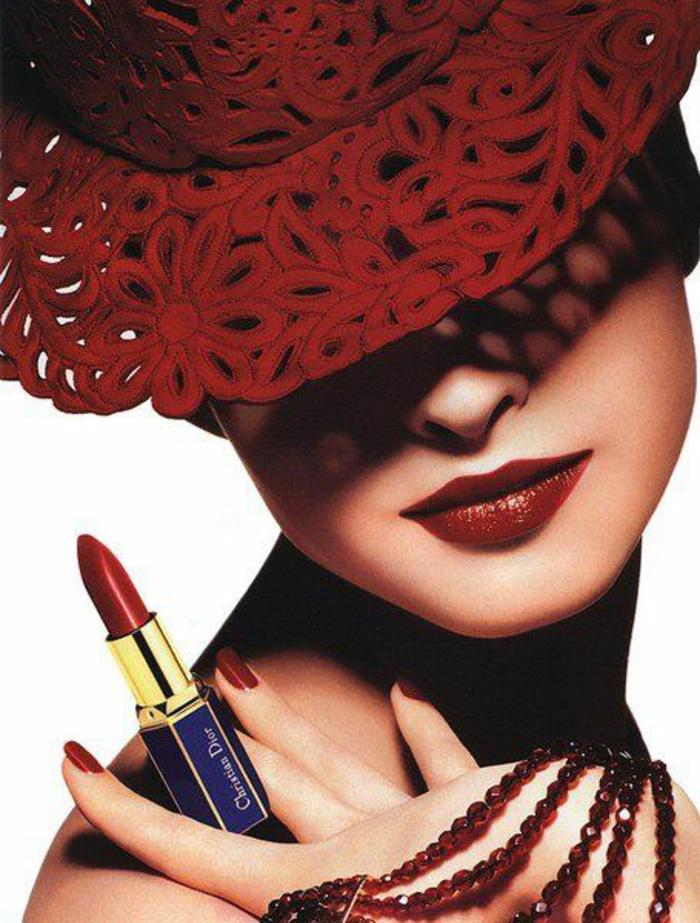 le-maquillage-professionnel-beauté-christian-dior-rouge-chapeau