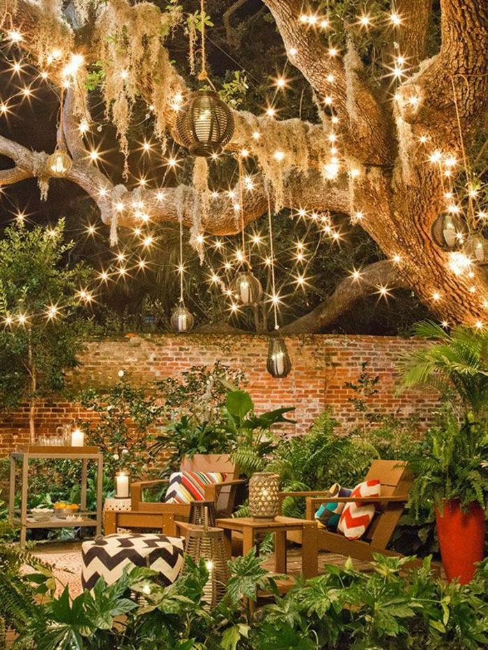 luminaires-extérieurs-jardin-eclairage-exterieur-meubles-de-jardin-en-bois