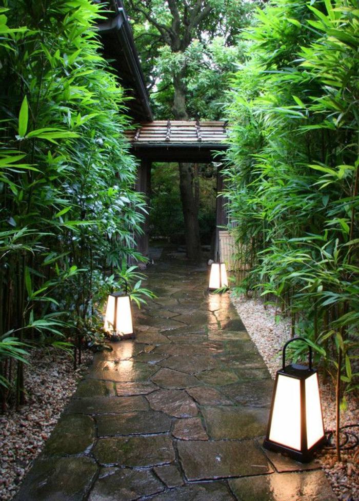 luminaires-exterieurs-chemin-de-jardin-plantes-vertes-décoration-de-jardin