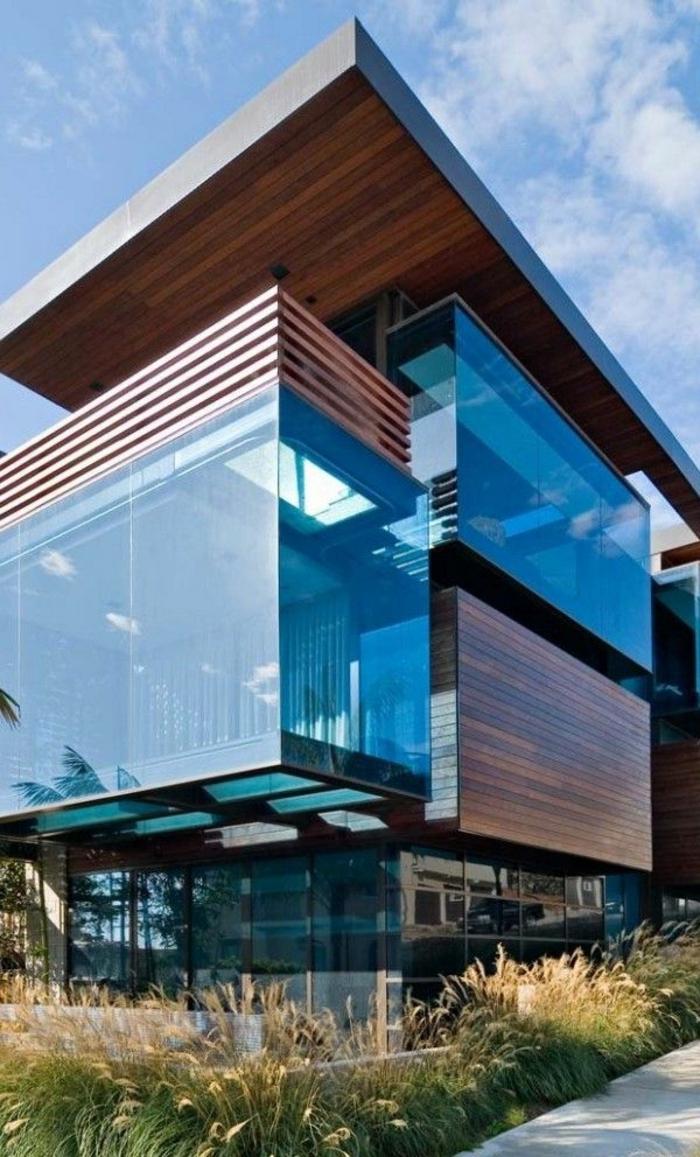 ... maison en verre, murs transparents, mur en verre, idée, architecture
