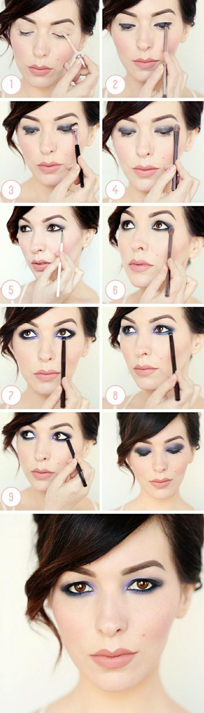 maquillage-des-yeux-marrons-idées-violet