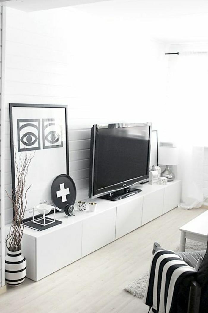 meuble-basse-télé-en-bois-laqué-blanc-sol-en-parquet-intérieur-blanc-noir-salon