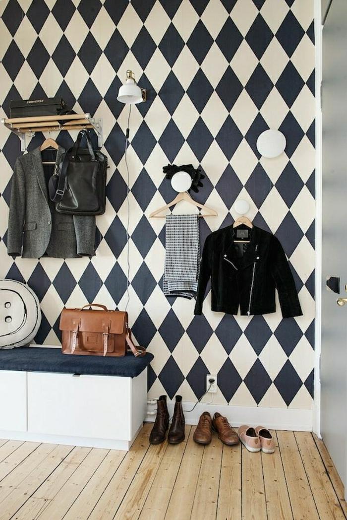 meuble-chaussure-ikea-mur-a-carreaux-blanc-noir-console-entree-sol-en-plancher
