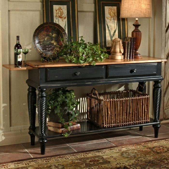 meuble d'entrée en bois, plantes vertes, meuble en bois