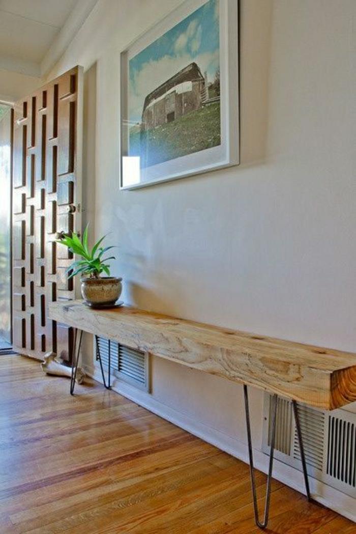 console meuble, mur blanc, meubles d'entrée