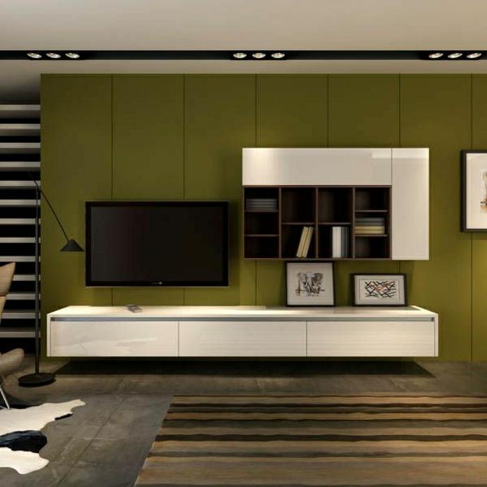 meuble-design-laqué-tv-mur-vert-tapis-peau-animal-sol-gris-chambre-de-séjour