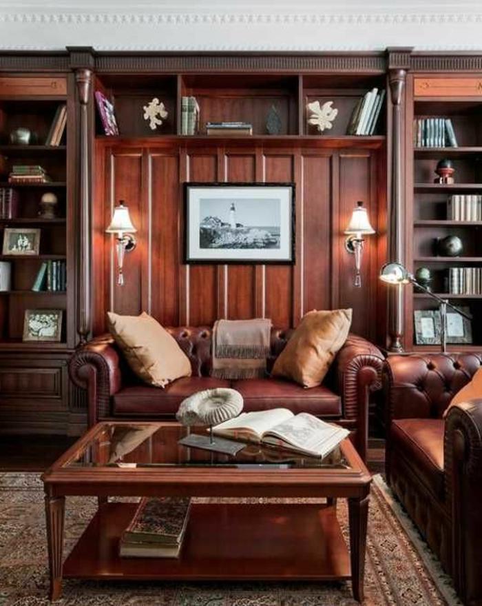 meuble-moderne-de-salon-meubles-rustiqus-canapé-en-cuir-marron-salon