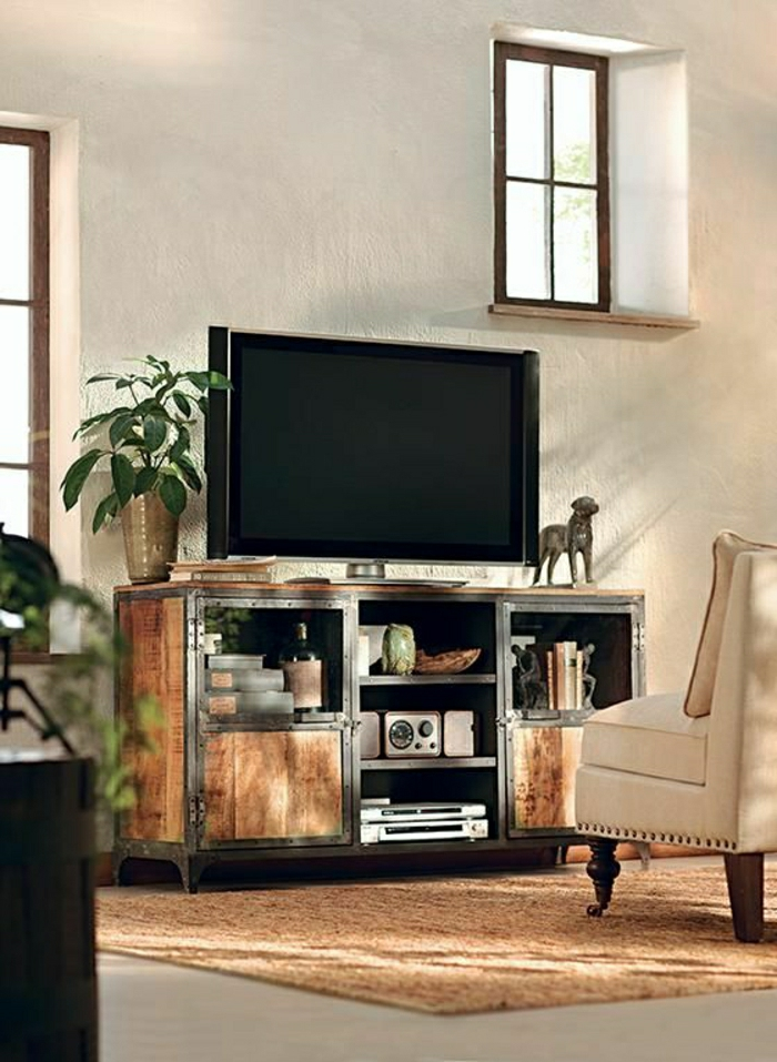 meuble-télé-en-bois-basse-en-bois-de-style-rustique-salon-design-moderne-tapis-marron