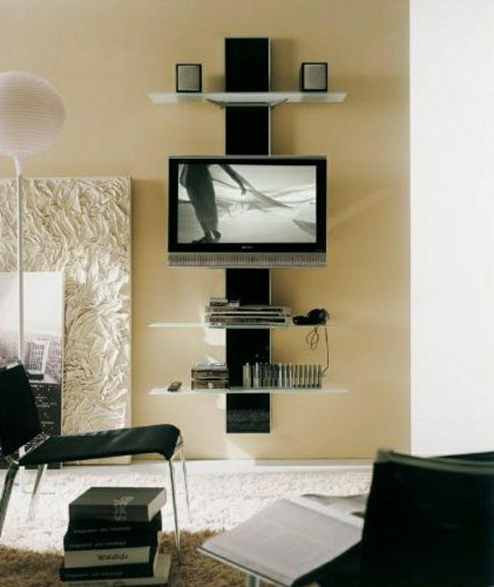meuble-télé-insolite-tapis-beige-mur-beige-fauteuil-noir-salon-design-moderne