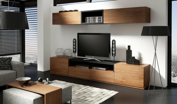 meuble-tv-bois-meuble-tv-teck-salon-aménagement-moderne-mur-blanc-tapis-beige