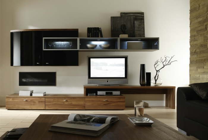 Meuble tv bois massif contemporain for Salon bois moderne