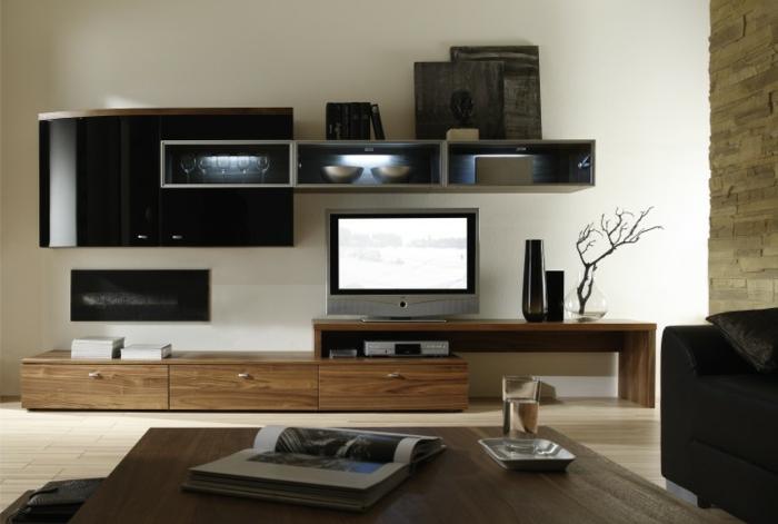 meuble-tv-bois-meuble-tv-teck-salon-aménagement-moderne-mur-blanc