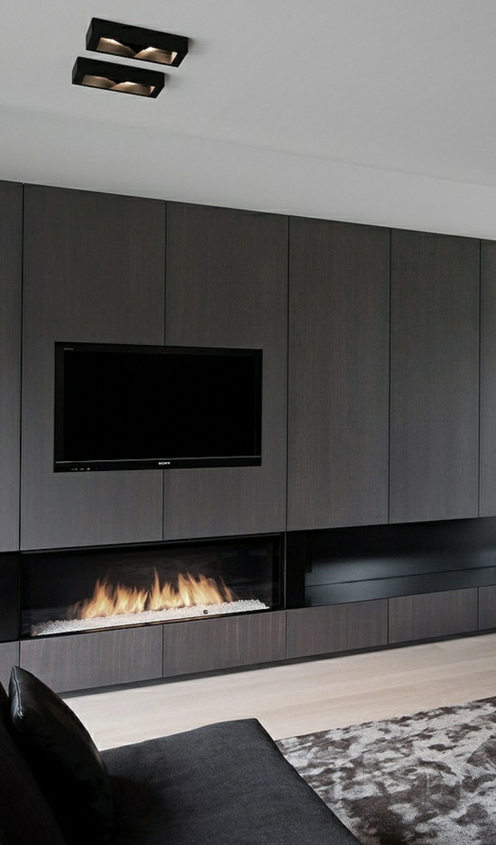 meuble-tv-design-blanc-cheminée-décorative-gris-décoration-gris-intérieur-gris-canapé-noir