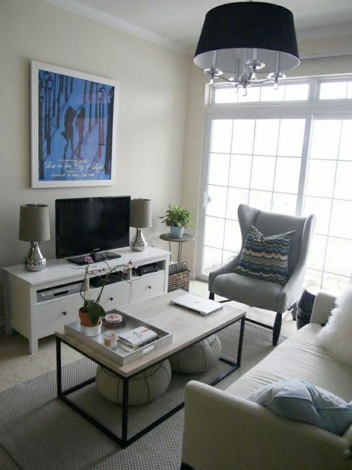 Meuble Tele Avec Bureau : Meuble-tv-design-blanc-lampe-décorative-gris-peinture-murale-fauteuil