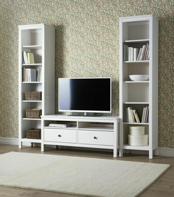 Meuble Tele Bois Design : Meuble-tv-design-en-bois-murs-beiges-tapis-beige-sol-en-bois-meuble