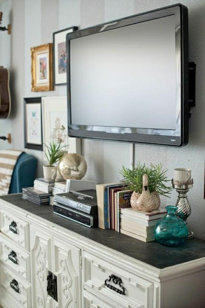 meuble-tv-ikea-meuble-blanc-pour-télé-plante-verte-livres-peintures-murales-salon-design