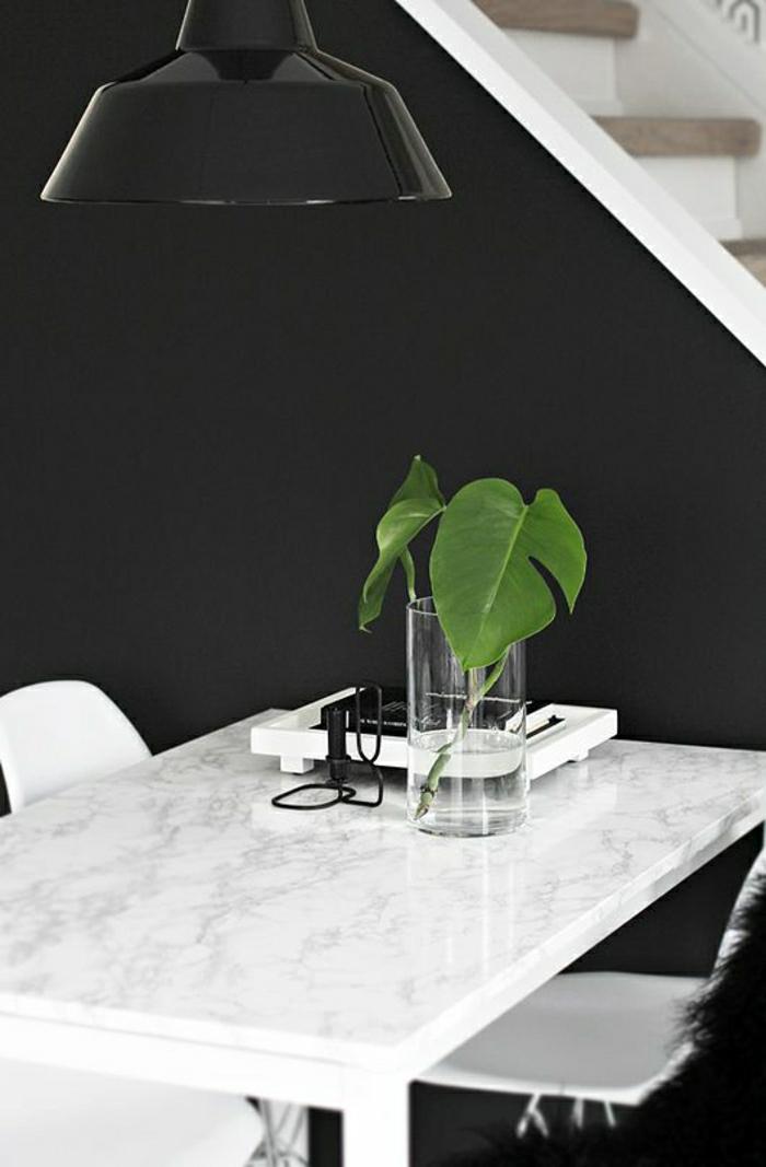 mur-noir-table-en-marbre-blanc-plante-verte-chaise-en-palstique-blanc-mur-noir