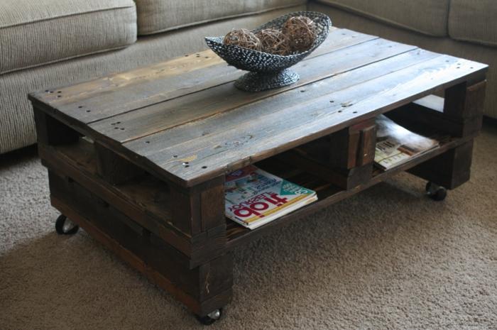 La table basse palette 60 id es cr atives pour la fabriquer - Comment fabriquer une table basse avec des palettes ...
