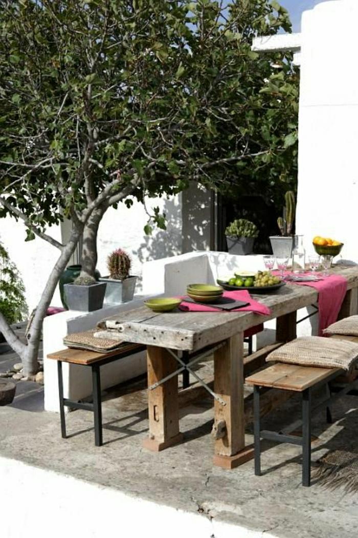 picnic-table-de-style-grecque-set-de-table-vert-table-en-bois-massif