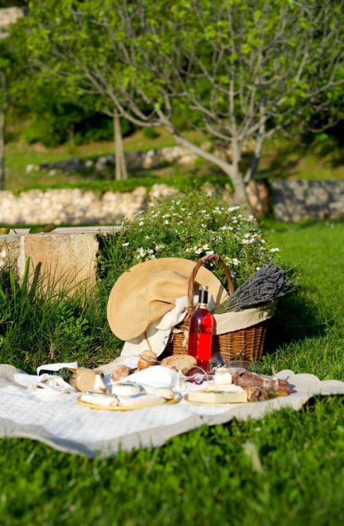 pique-nique-panier-picnic-pelouse-fleurs-vin-pain