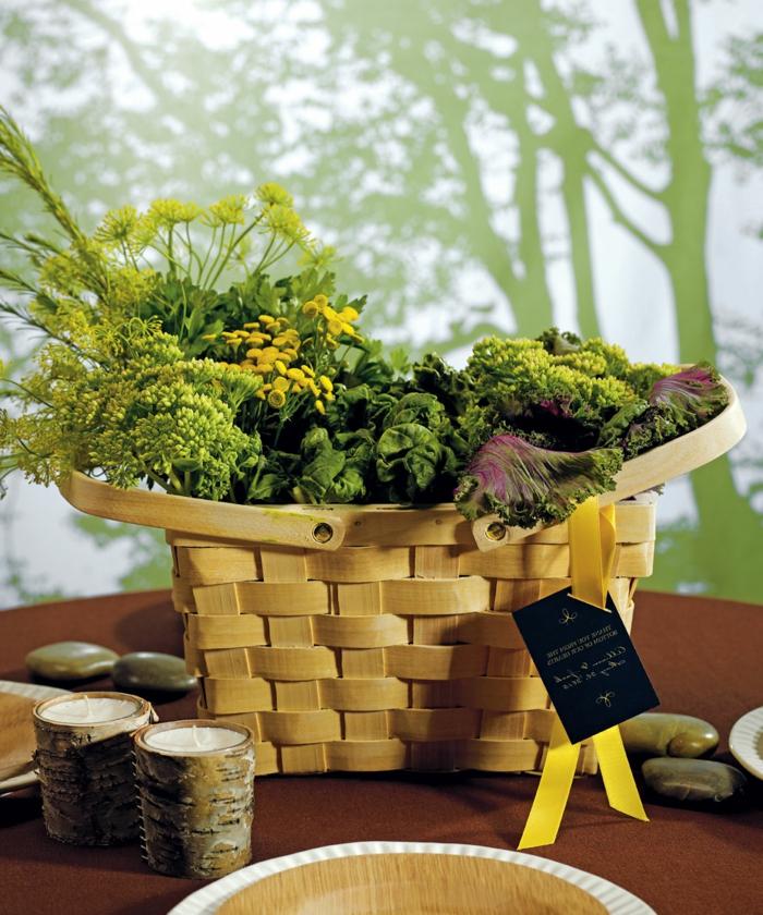 pique-niquer-avec-joli-panier-jaune-nature-fleurs