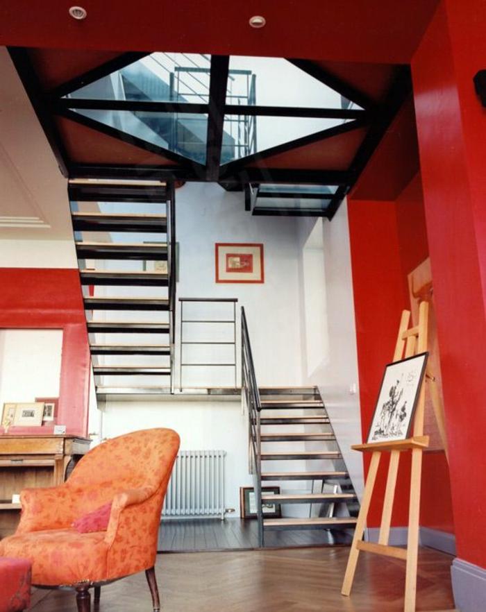 plancher-en-verre-couloir-moderne-sol-atelier-vaste-rouge-intérieur