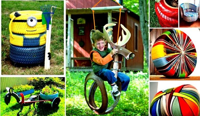 pneu-recyclage-originale-idée-enfant-balançoire