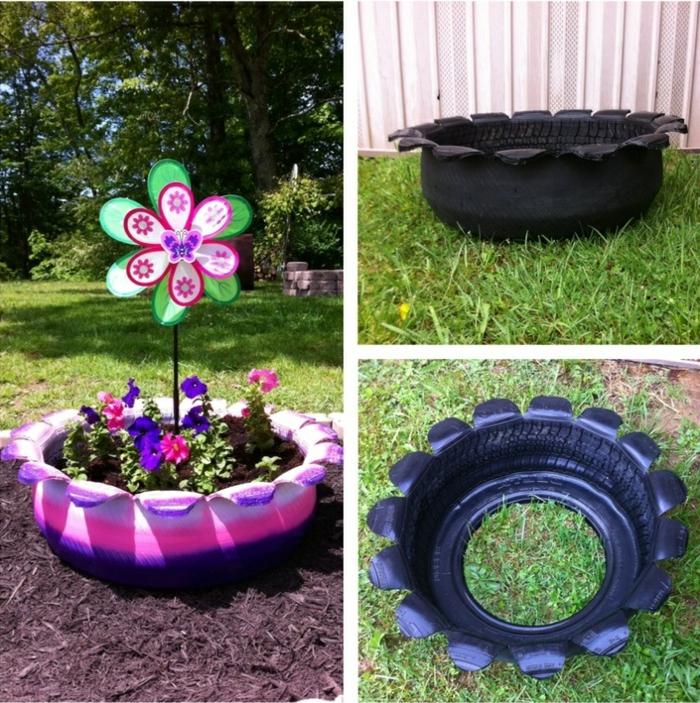 pneu-recyclage-originale-idée-pot-de-fleurs-coloré-de-pneu