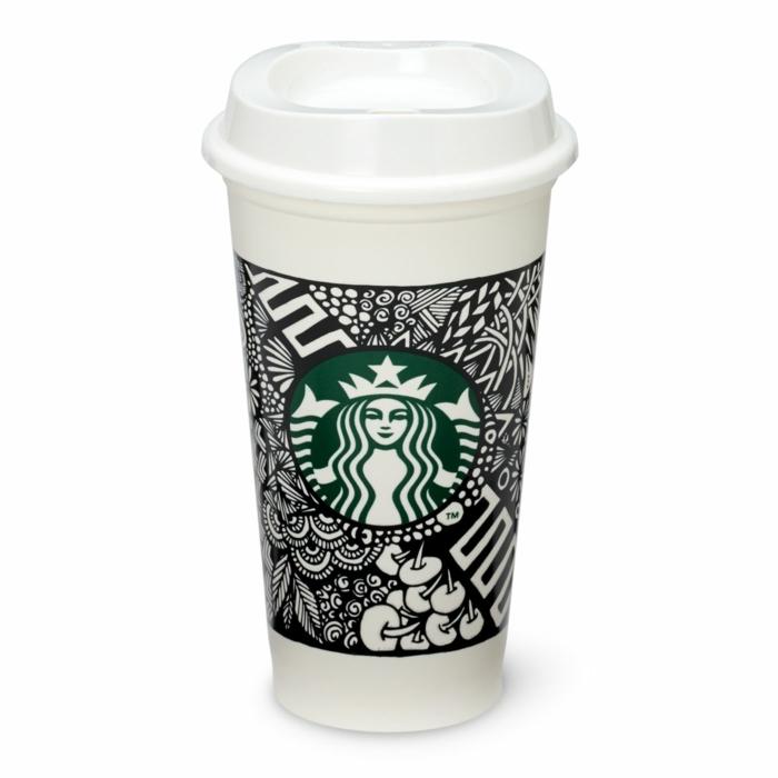 porte-gobelet-starbucks-art-sur-cup-carton-art-noir-et-blanc