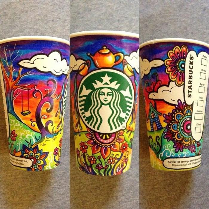 porte-gobelet-starbucks-art-sur-cup-carton-couleur-peinture