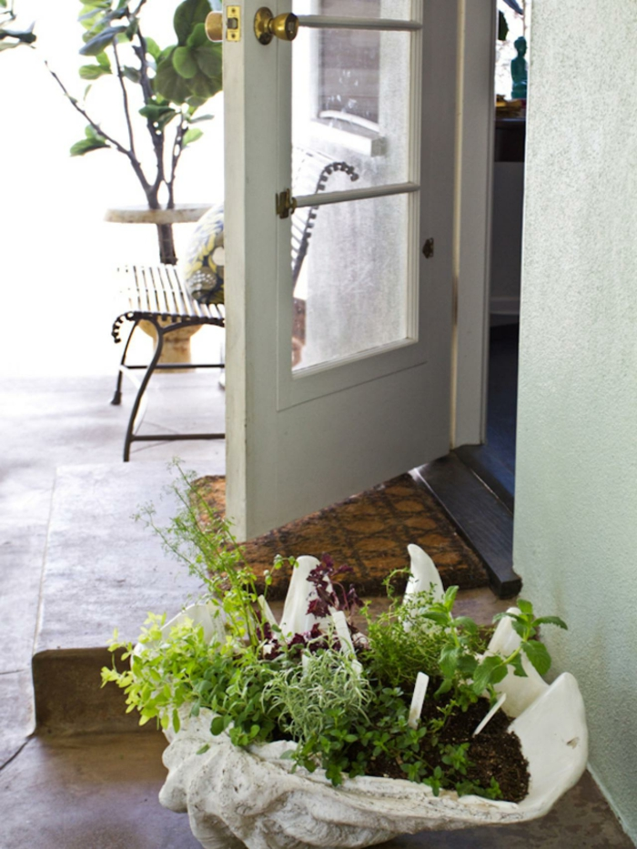pot-de-fleurs-idée-jardin-porte-d-entrer