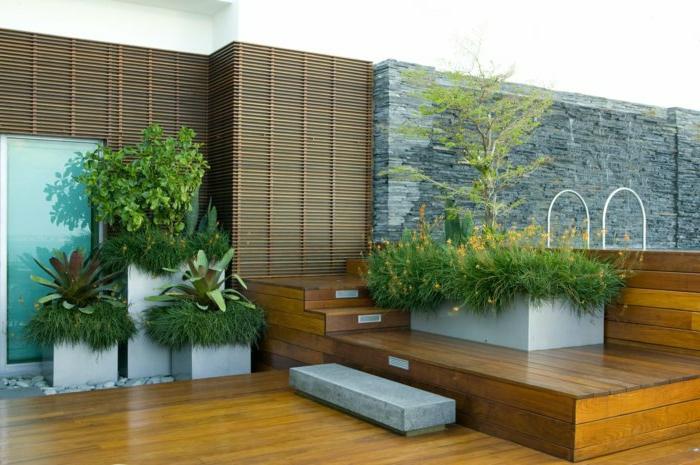 pot-fleur-jardin-verte-plantes-terasse-bois