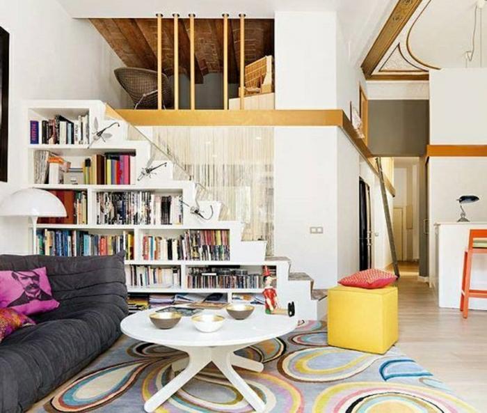 rangement-sous-escalier-en-bois-bibliothèque-sous-escalier-meubles-sous-escalier-salon
