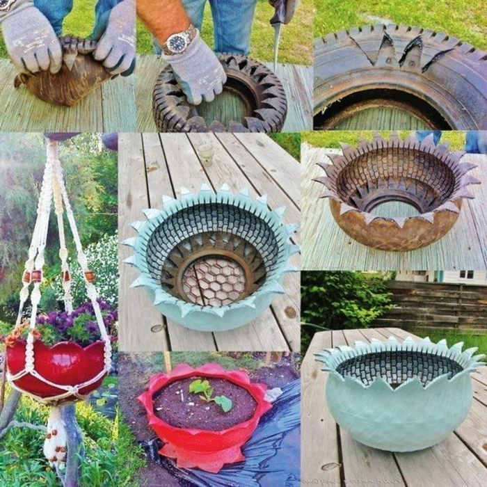 recycler-écologie-pneu-transformation-pot-décoré