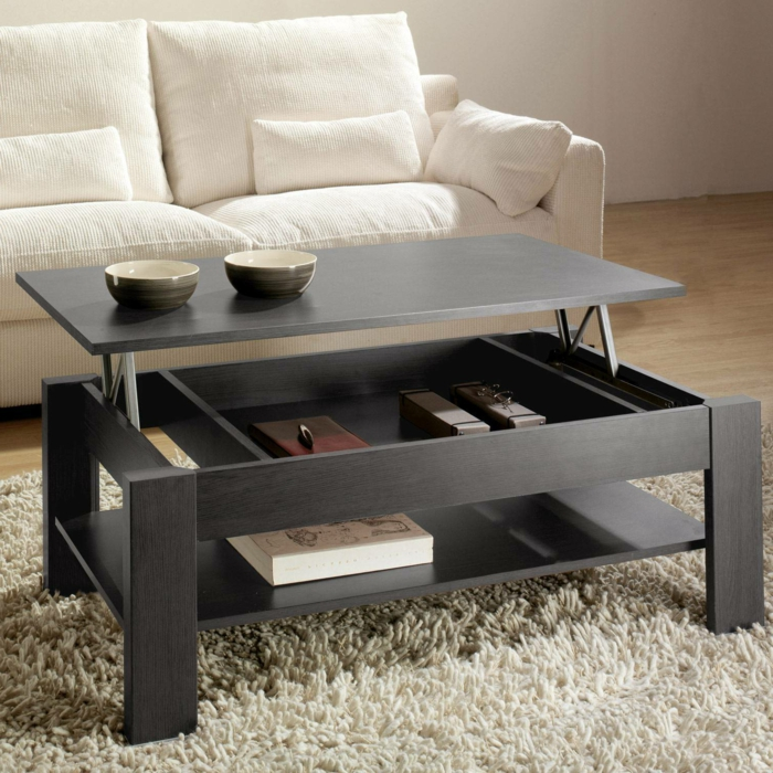 La table basse relevable pour votre salon fonctionnel - Table de salon rectangulaire ...