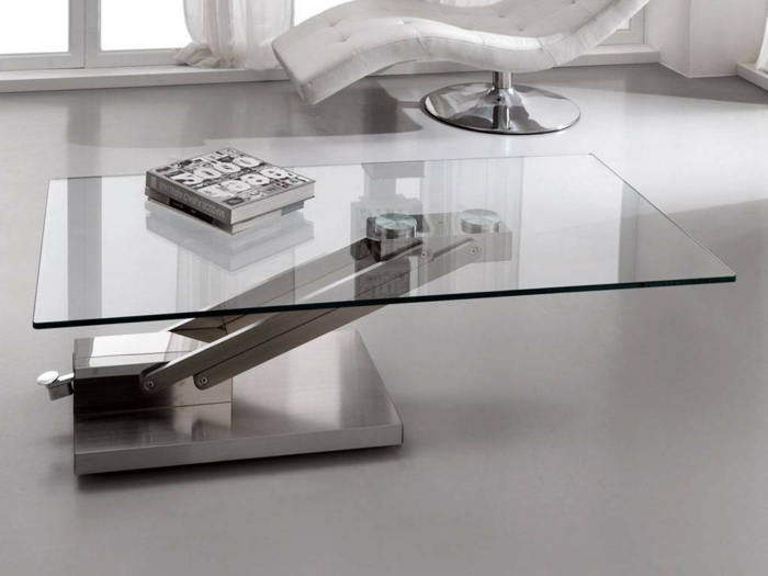 La table basse relevable pour votre salon fonctionnel - Table basse de salon en verre modulable ...