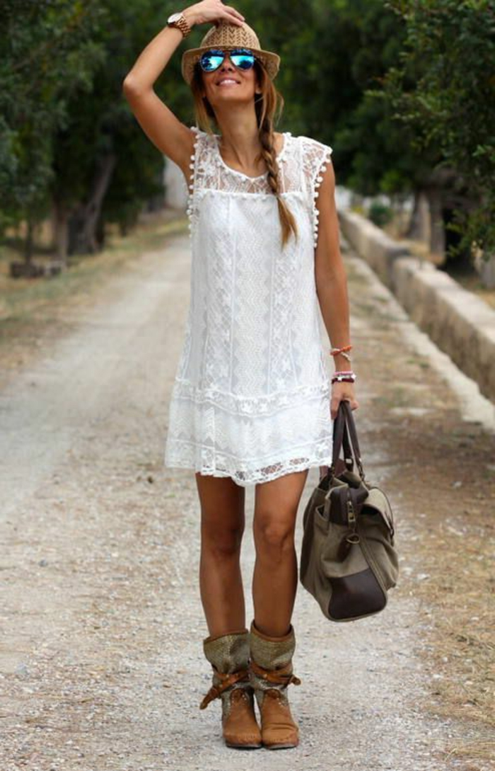 robe-d-éte-blanche-courte-en-dentelle-fille-tendance-été-2015-chapeau-lunettes