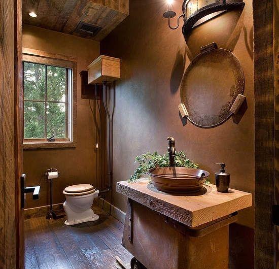 salle-de-bain-de-couleur-taupe-sol-en-parquet-foncé-vasque-marron-foncé-salle-de-bain-rétro