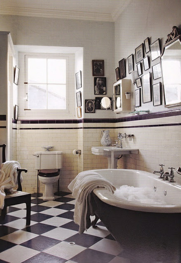 stunning salle de bain retro noir et blanc images. Black Bedroom Furniture Sets. Home Design Ideas